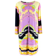 Leonard Purple Pink and Black Patterned Shirt Dress M 44