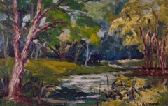 Woodland River - Mid 20th Century Oil Landscape of Forest by Leonard Richmond