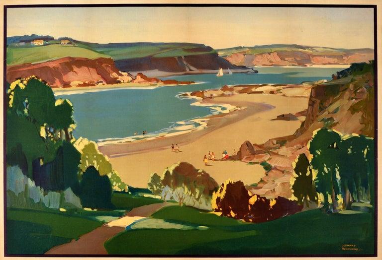 Original Vintage British Railways Poster Glorious Devon Beach Sea Sailing Boats - Print by Leonard Richmond