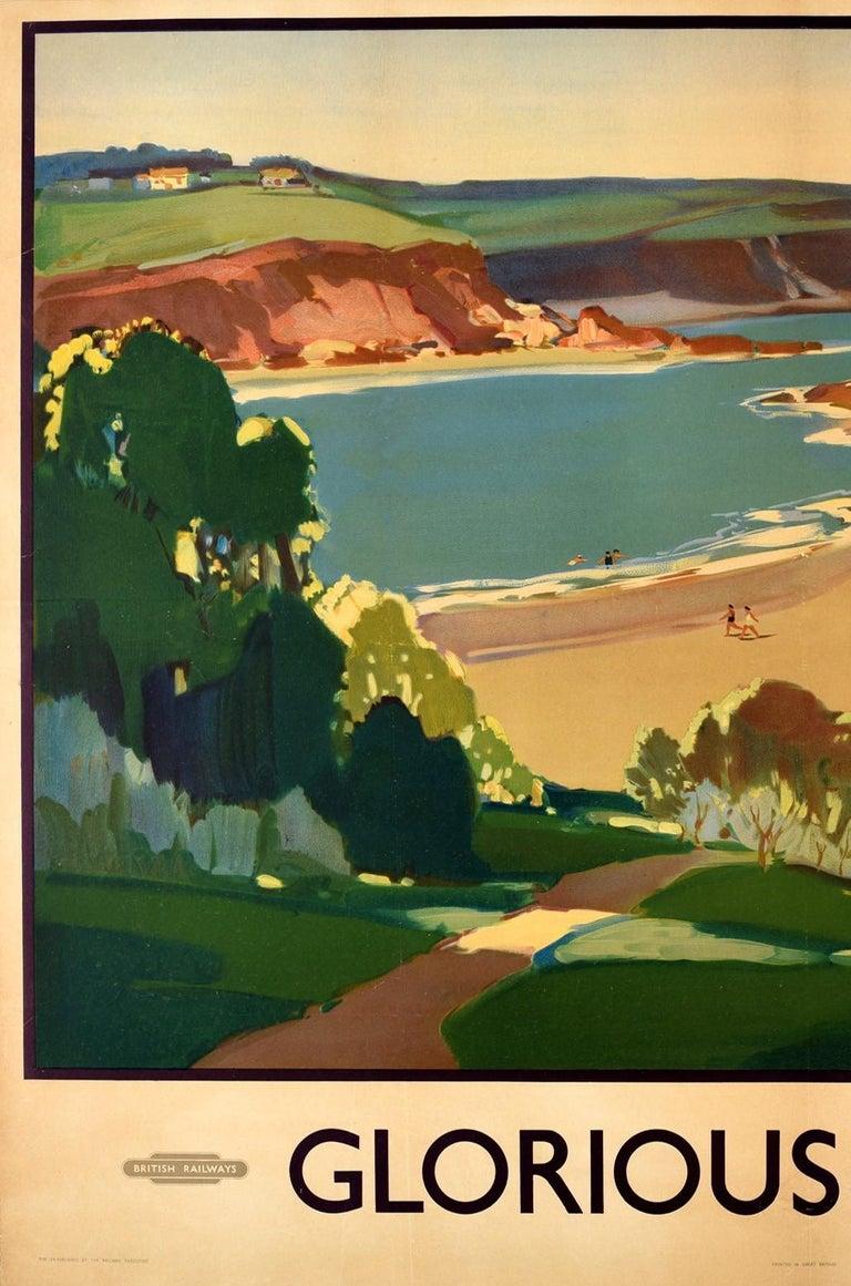 Original Vintage British Railways Poster Glorious Devon Beach Sea Sailing Boats - Beige Print by Leonard Richmond