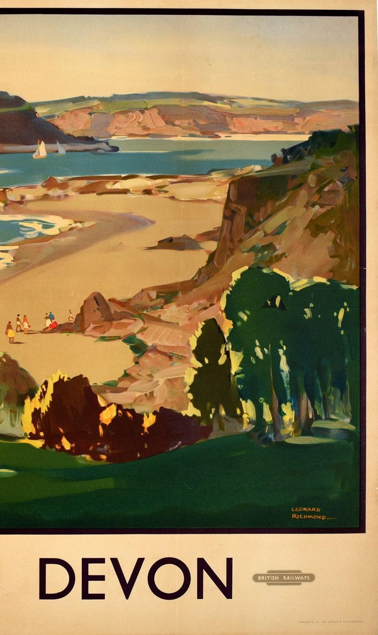 Original vintage travel poster for Glorious Devon issued by British Railways featuring a colourful country seaside scene by the artist and poster designer Leonard Richmond (1889-1965) depicting a tree lined pathway leading down to people walking