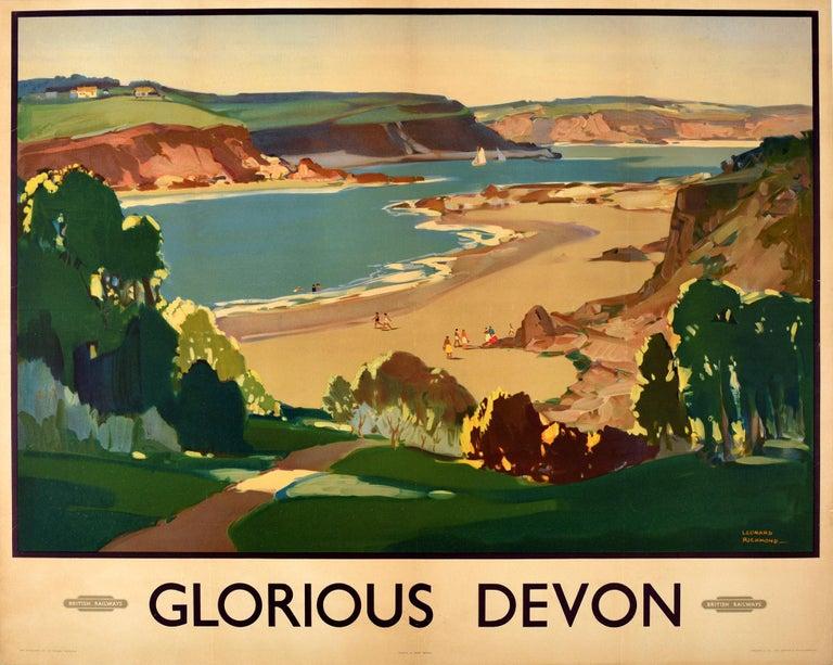 Leonard Richmond Print - Original Vintage British Railways Poster Glorious Devon Beach Sea Sailing Boats