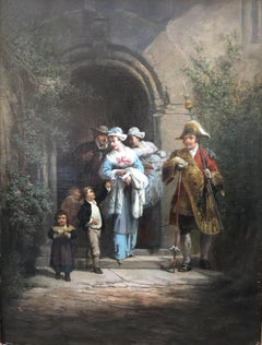 The Christening, Oil on Canvas Signed Leonard Saurfelt and Dated 1884