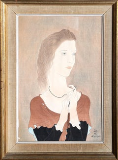 Femme Au Chale Rouge, Woodblock by Tsuguharo Foujita