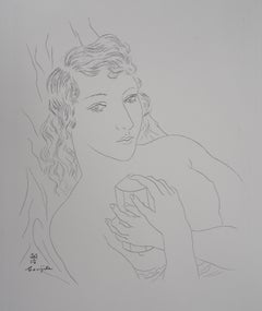 Isabey : Woman with Perfume Bottle - Original etching (Buisson #28.74)