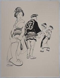 Japanese Family - Original etching