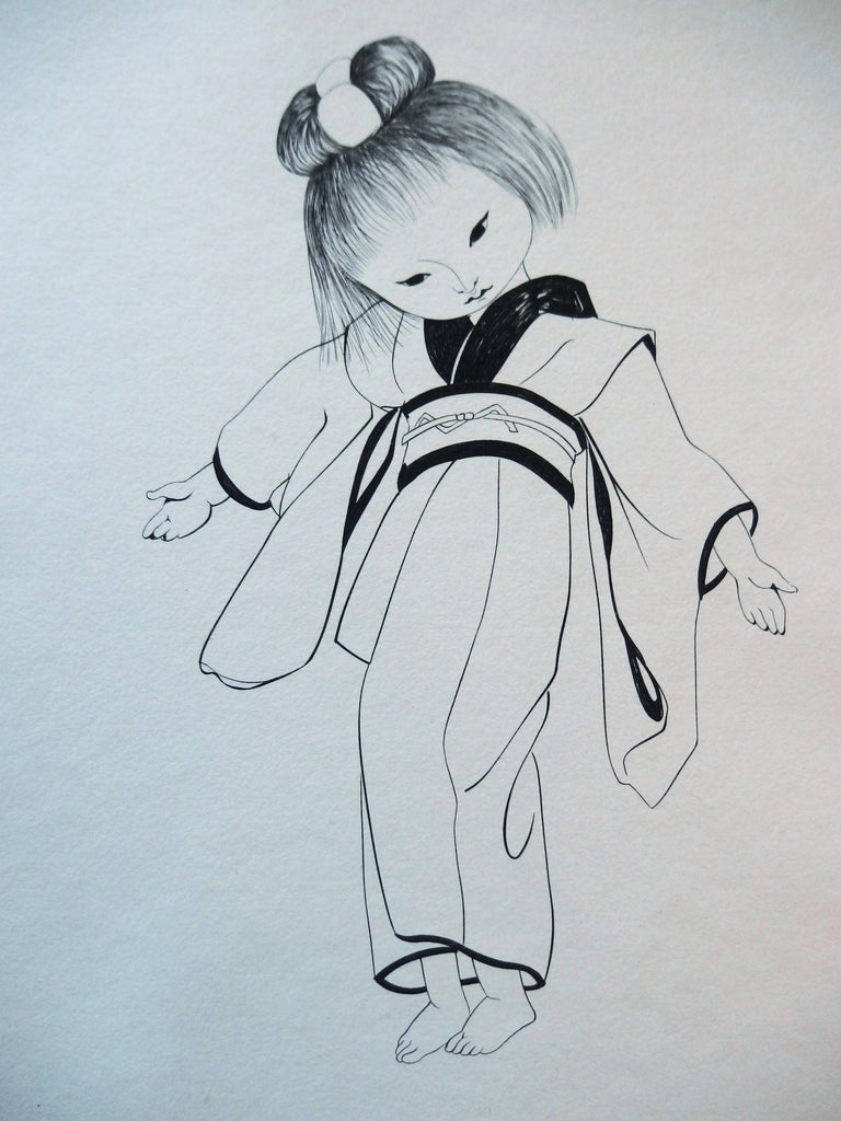 Japanese Girl in Traditional Kimono - Original etching - Print by Leonard Tsuguharu Foujita
