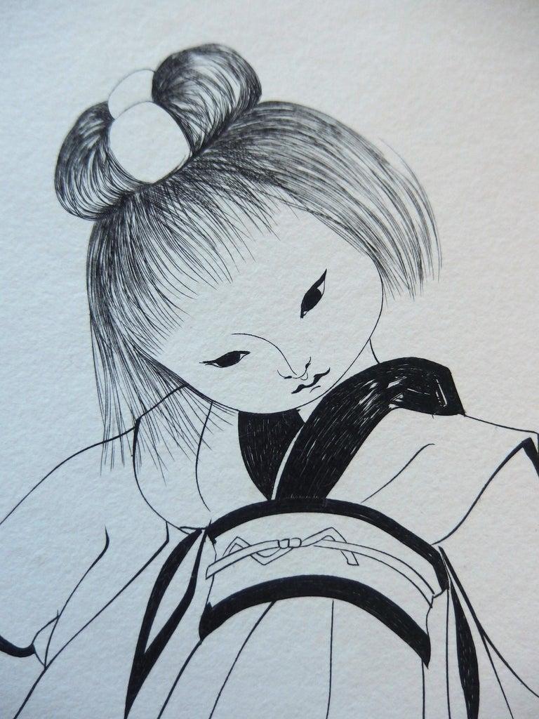 Japanese Girl in Traditional Kimono - Original etching - Modern Print by Leonard Tsuguharu Foujita