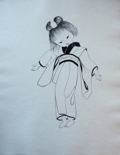 Japanese Girl in Traditional Kimono - Original etching