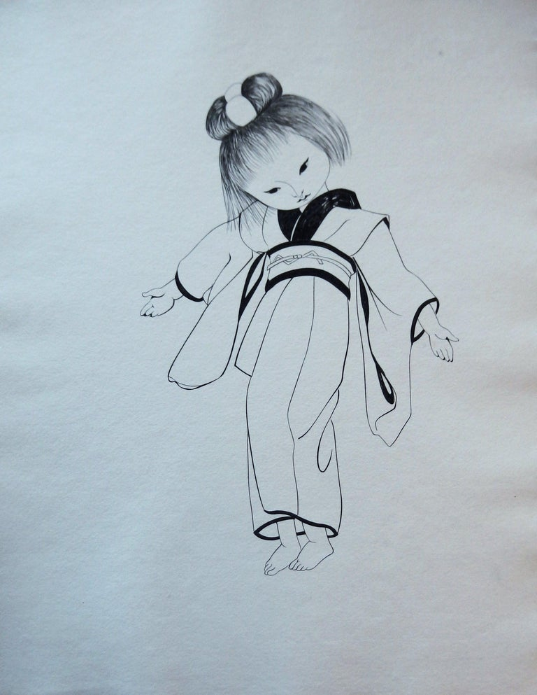 Leonard Tsuguharu Foujita Portrait Print - Japanese Girl in Traditional Kimono - Original etching