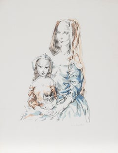 Mother and Child, Lithograph by Tsuguharo Foujita