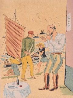 Propos d'un Intoxiqué - Original Lithograph by L.T. Foujita - 1928