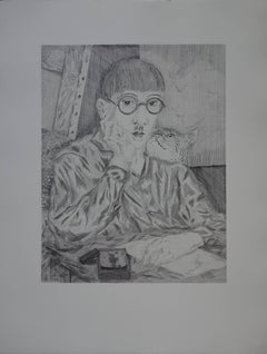 Self Portrait With a Cat - Original etching