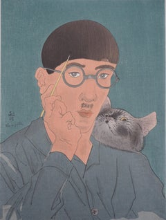 Self Portrait with Cat - Original woodcut, 1925 (Buisson #25.32)