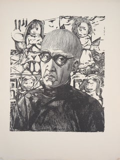 Self Portrait With Children - Original woodcut (Buisson #60.109)