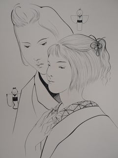 Two Japanese Women with Dolls - Original etching