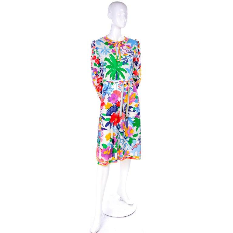 Leonard Vintage Dress in Tropical Floral Fish Elephant Print Silk Jersey For Sale 5
