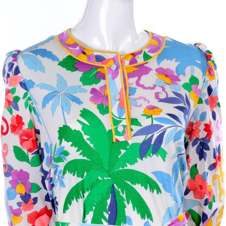 Leonard Vintage Dress in Tropical Floral Fish Elephant Print Silk Jersey For Sale 6