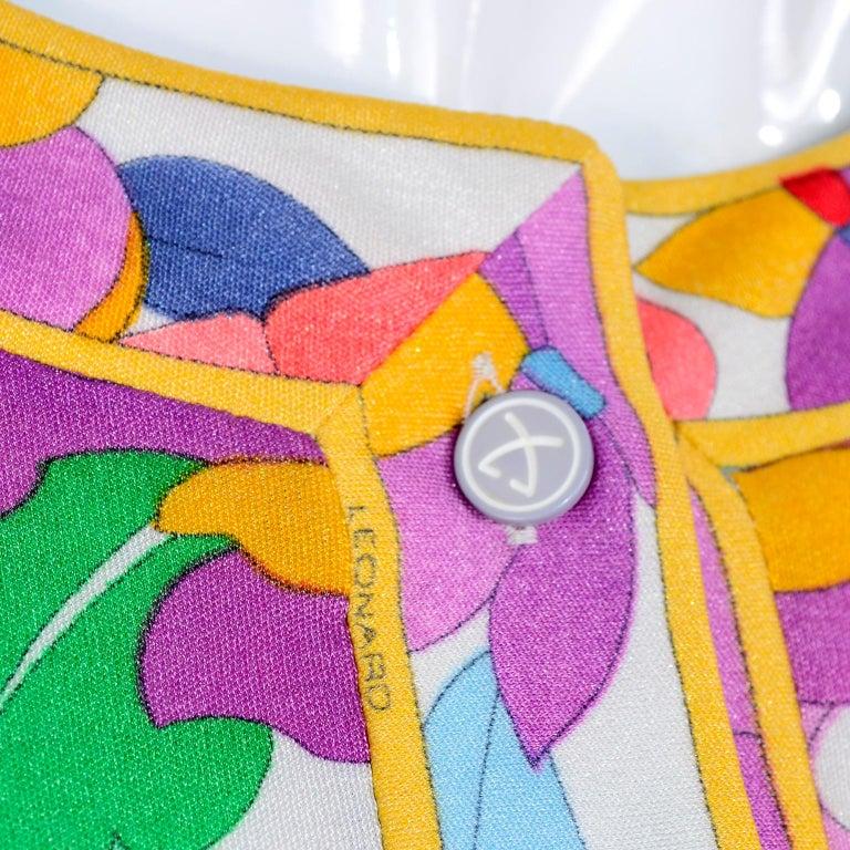 Leonard Vintage Dress in Tropical Floral Fish Elephant Print Silk Jersey For Sale 7