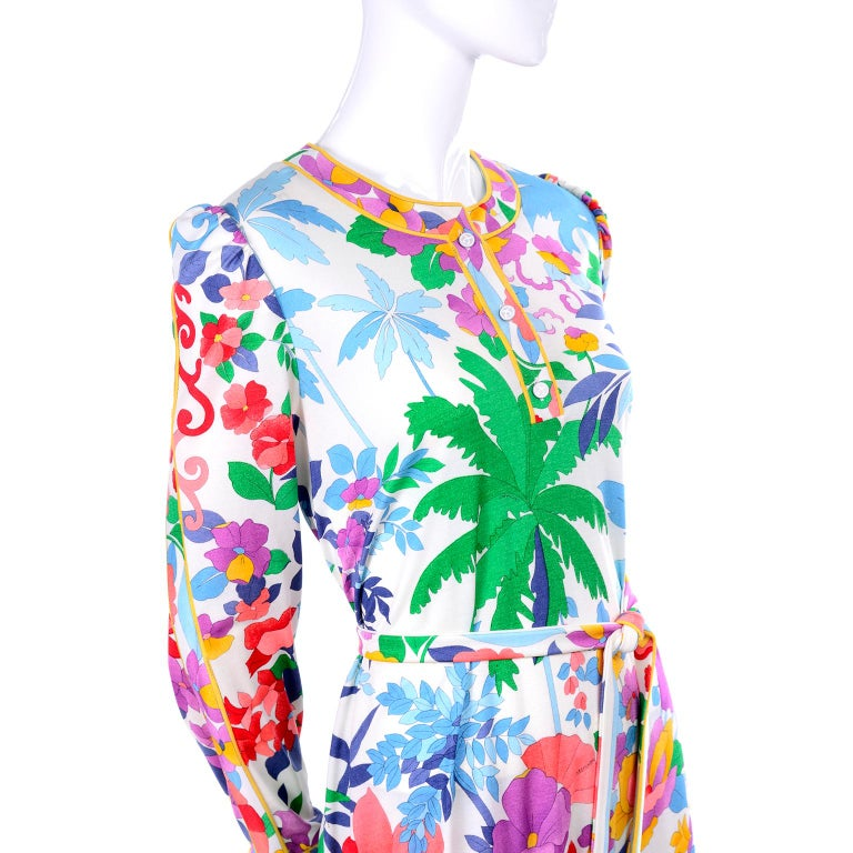 Leonard Vintage Dress in Tropical Floral Fish Elephant Print Silk Jersey For Sale 8