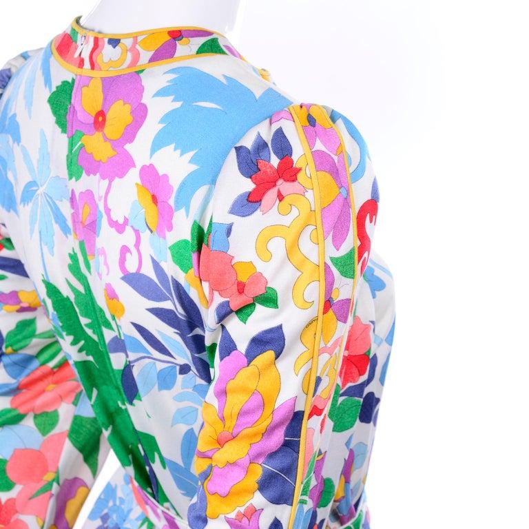 Leonard Vintage Dress in Tropical Floral Fish Elephant Print Silk Jersey For Sale 9