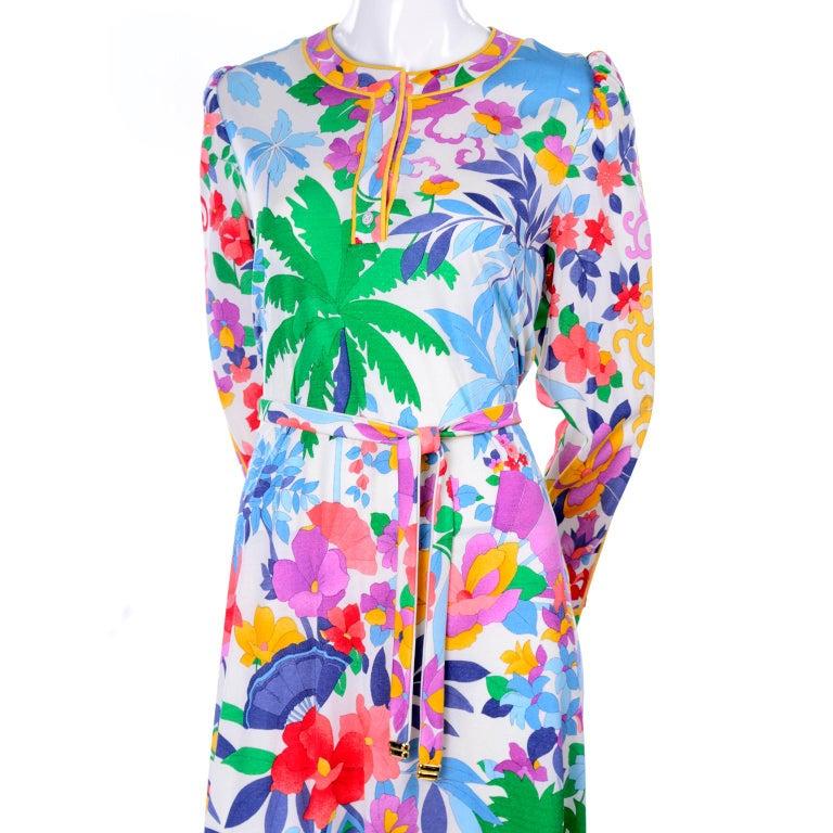 Leonard Vintage Dress in Tropical Floral Fish Elephant Print Silk Jersey For Sale 10