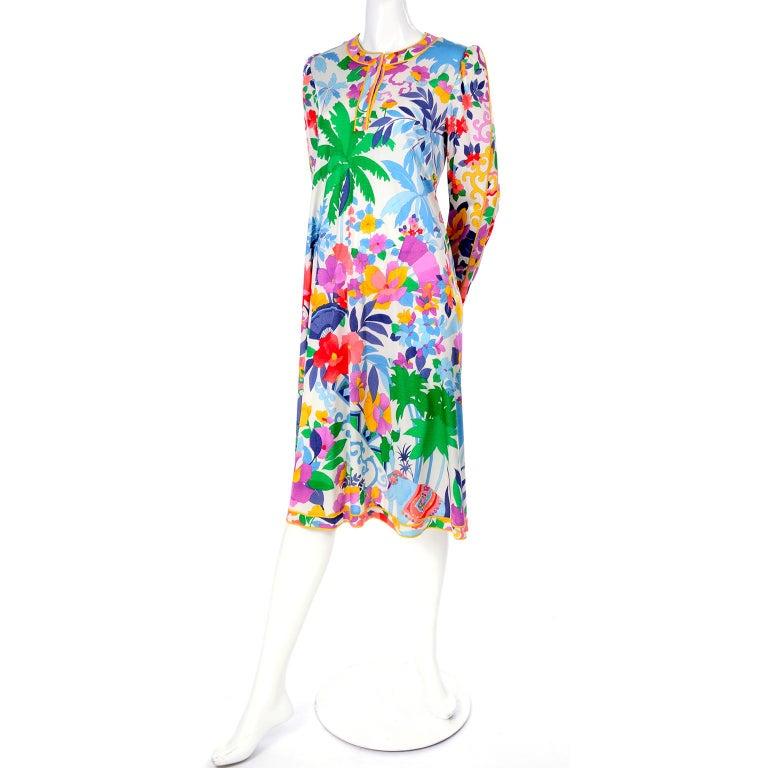 Leonard Vintage Dress in Tropical Floral Fish Elephant Print Silk Jersey For Sale 11