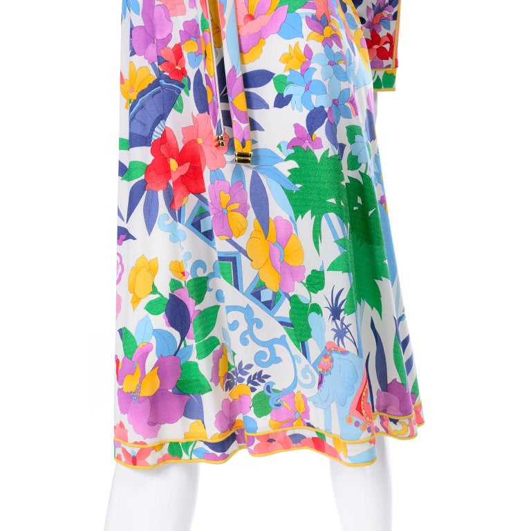 Gray Leonard Vintage Dress in Tropical Floral Fish Elephant Print Silk Jersey For Sale