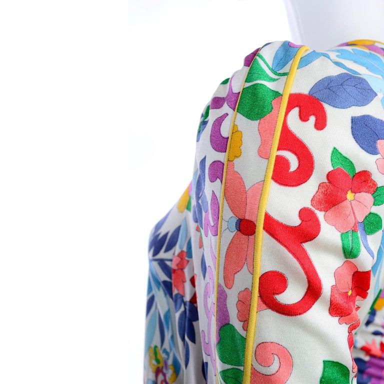 Women's Leonard Vintage Dress in Tropical Floral Fish Elephant Print Silk Jersey For Sale