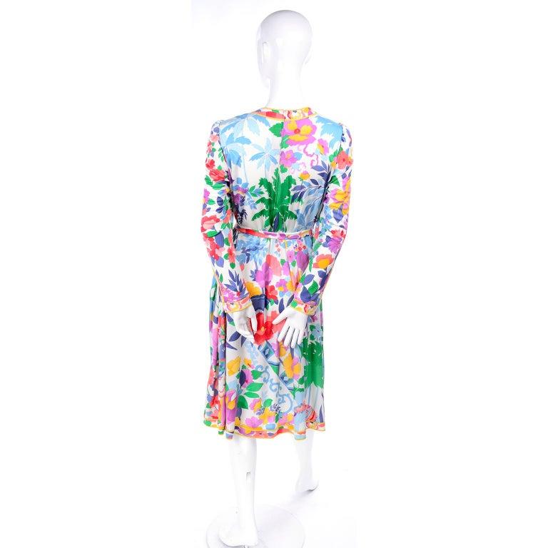 Leonard Vintage Dress in Tropical Floral Fish Elephant Print Silk Jersey For Sale 1