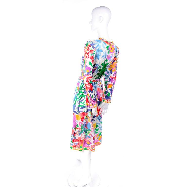 Leonard Vintage Dress in Tropical Floral Fish Elephant Print Silk Jersey For Sale 2