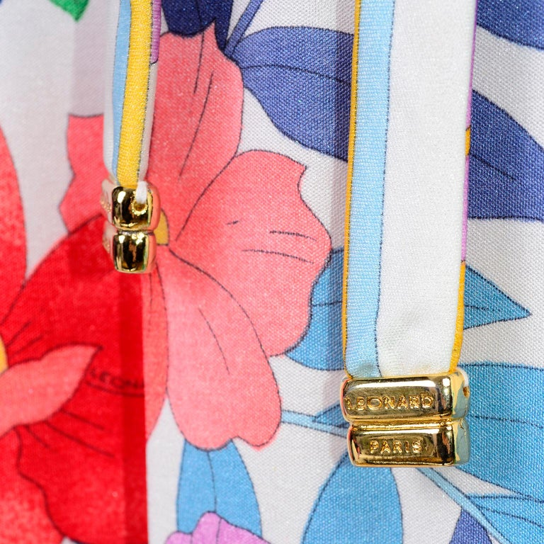 Leonard Vintage Dress in Tropical Floral Fish Elephant Print Silk Jersey For Sale 3