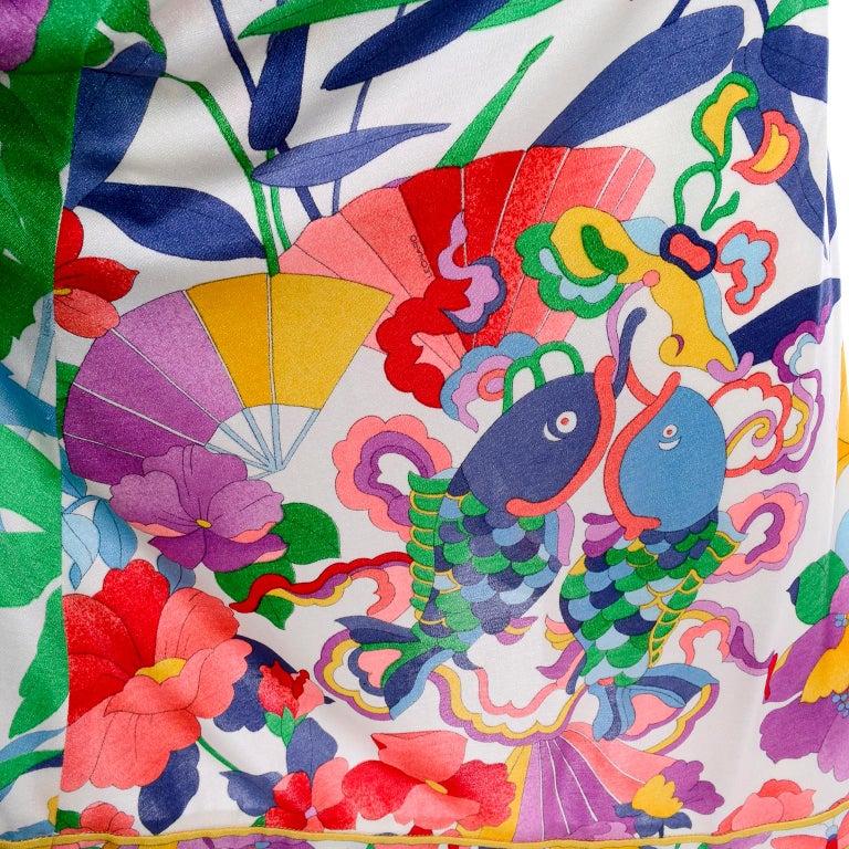 Leonard Vintage Dress in Tropical Floral Fish Elephant Print Silk Jersey For Sale 4