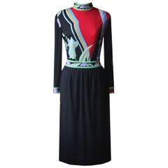 Leonard Vintage Floral Print Silk Jersey Midi Dress
