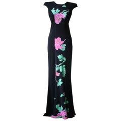 Leonard Vintage Floral Print Silk Maxi Dress
