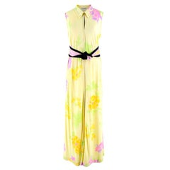 Leonard Yellow Printed Sleeveless Maxi Dress with Black Sash M 44