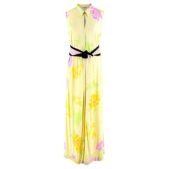 Leonard Yellow Printed Sleeveless Maxi Dress with Black Sash - Size US 8