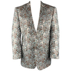 LEONARDI Size XXL Silver & Brown Paisley Polyester Notch Lapel Sport Coat