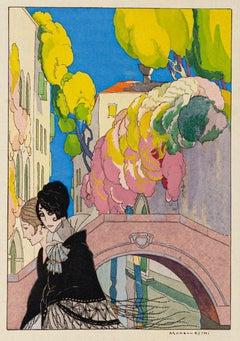 Venice - Original Pouchoir by Leonardo Brunelleschi - 1920
