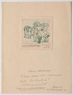 Girls  - Original Etching by Leonardo Castellani - 1956
