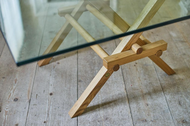 Leonardo Contemporary Table Made of Ashwood and Glass Top, design Marco Ferreri For Sale 2