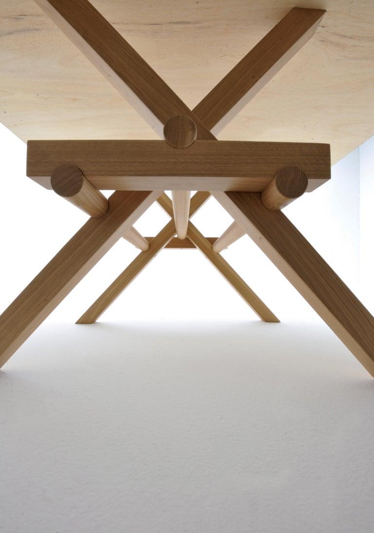 Italian Leonardo Contemporary Table Made of Ashwood with Interlocking Legs For Sale