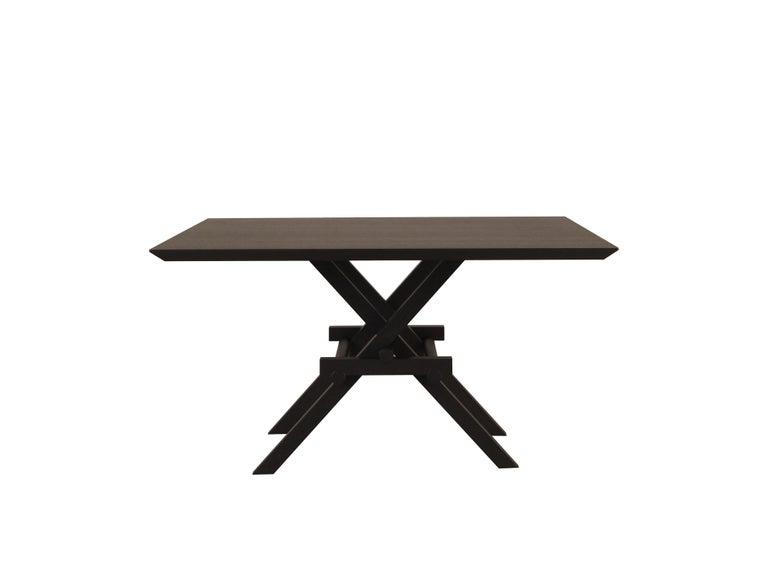 Leonardo Contemporary Table Made of Ashwood with Interlocking Legs For Sale 1