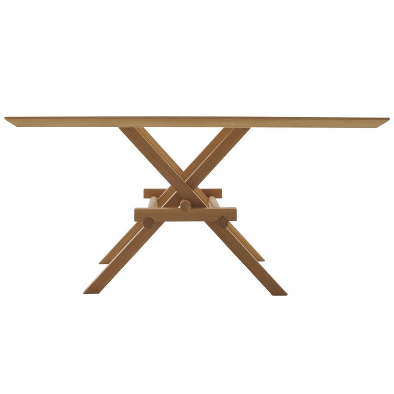 Leonardo Contemporary Table Made of Ashwood with Interlocking Legs For Sale