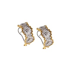 White and Yellow 18Kt Gold Leonardo da Vinci Cut Cecilia Diamond Earrings