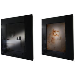 Leonardo Is You, Lighting Mirror with Ultrasonic Sensor, Black Plexiglass