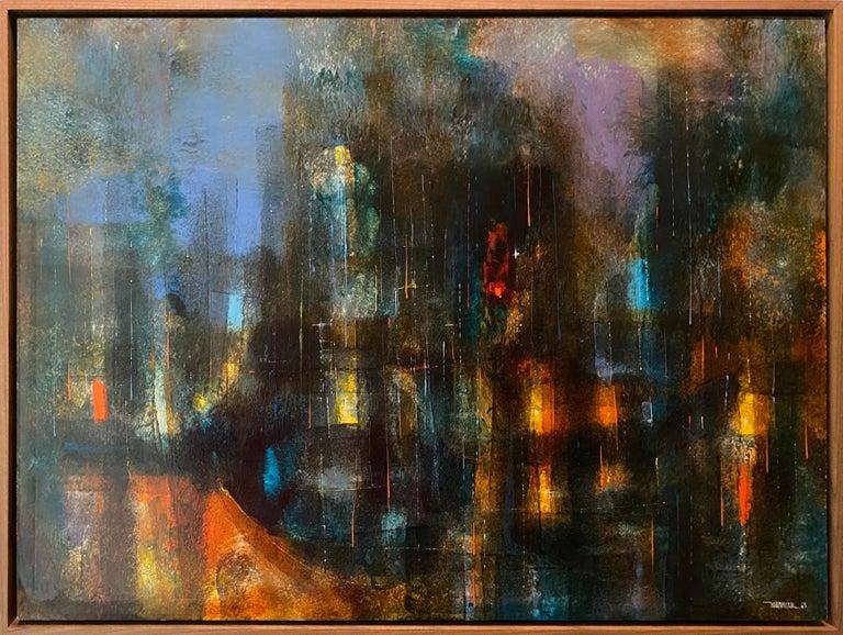 Original Oil painting on masonite by noted Mexican abstract artist Leonardo Nierman (1932 -  ), signed lower right.   Ciudad Prismatica Leonardo Nierman, Mexican (1932) Date: 1963 Oil on masonite, signed and dated lower right Size: 22 x 30 in.