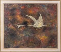 "Leonardo Nierman '59 Massive Rare Oil Painting, Masonite board ""Bird in Flight"""