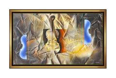 Leonardo Nierman Large Painting On CANVAS Original Oil Signed Abstract Music Art