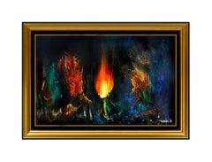 Leonardo Nierman Original Painting Oil On Board Cosmic Fire Abstract Signed Art